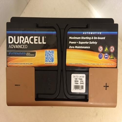 Duracell DA72 Advanced Car Battery (100