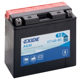 Exide ET14B-BS 12v 12Ah AGM Motorcycle Battery (YT14B4) Exide Motorcycle