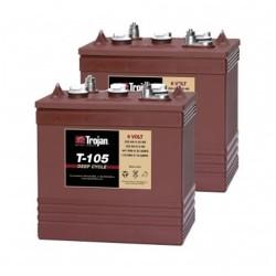 Trojan T-105 6v 225Ah Deep Cycle Batteries X 2 (T105) Trojan Leisure